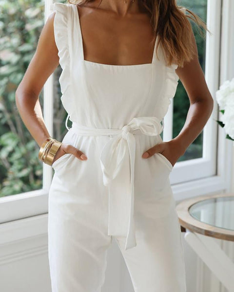 Ruffled Backless Sexy Elegant Jumpsuit