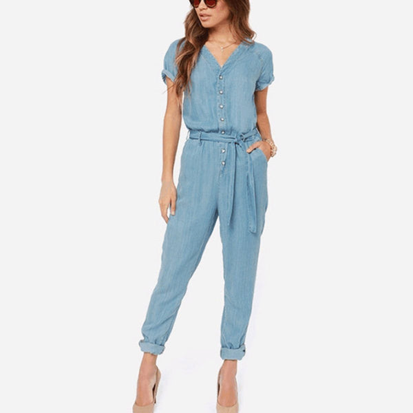 Fashion Plain Light_Blue Jumpsuits