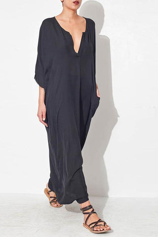 V Neck Plain Cotton/Linen Maxi Shift Dress