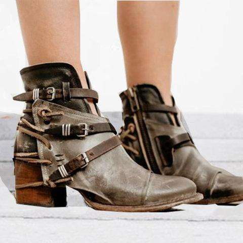 Vintage Style Point Toe Belt Buckle Boots Side Zipper Ankle Boots