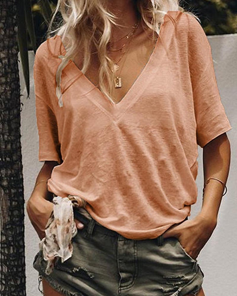 V-Neck Solid Color Casual Sexy T-Shirt