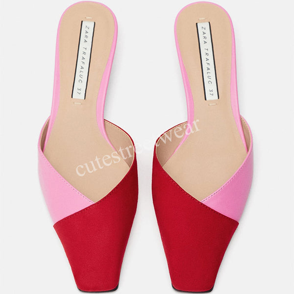 Summer Women  Mixed Color Shoes Low Heel Slippers Women Fashion Streetwear