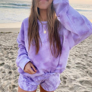 Women Tie dye printed long sleeve sweater shorts sets