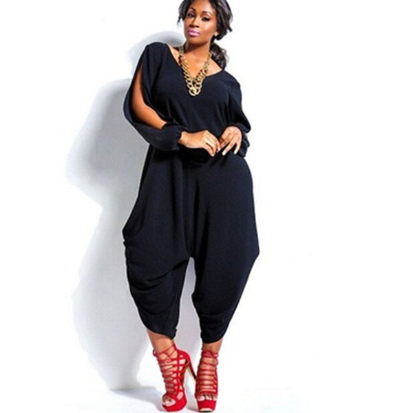 2019 Spring Plus Size Baggy Harem Slit Sleeve Loose Jumpsuit