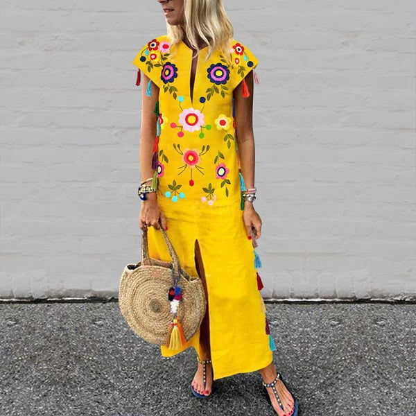 Vintage Printed Fringed Yellow Dress