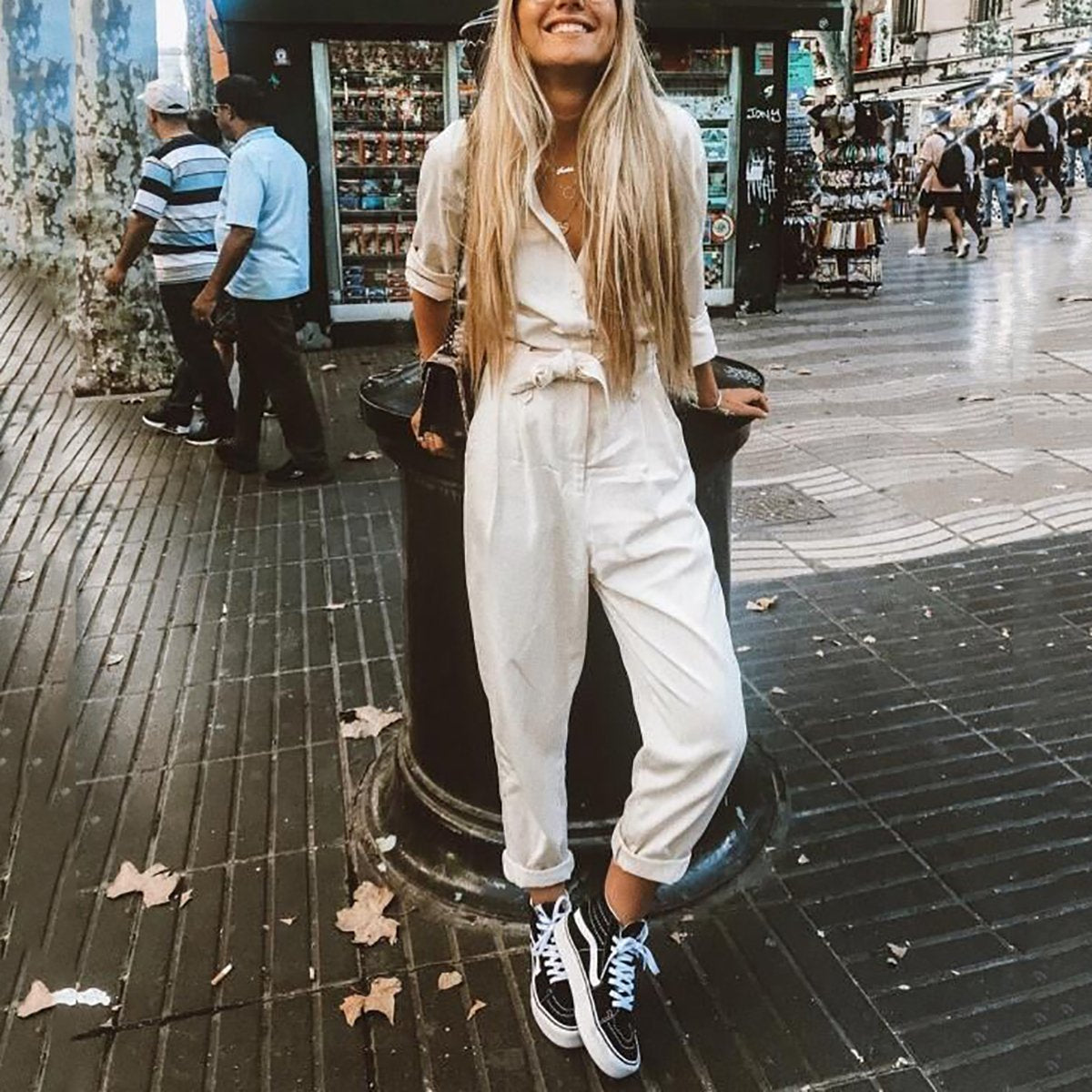STYLISHPOP Fashion Casual Plain Loose Jumpsuits