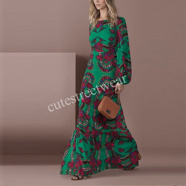 Spring Summer Beach maxi dress Bohemian women Floral printed long dress