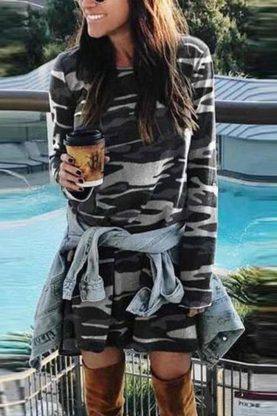Round Neck  Camouflage  Long Sleeve Casual Dresses