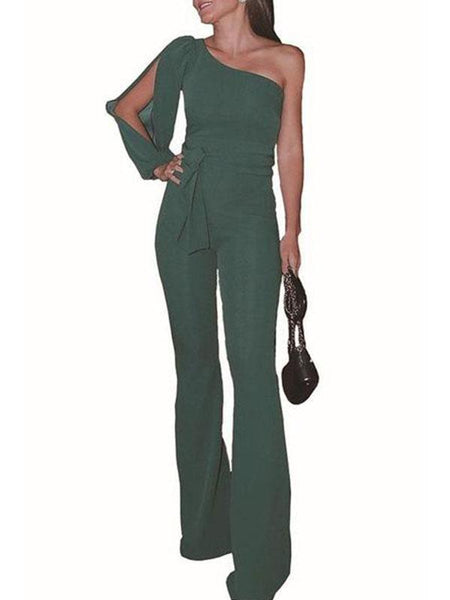 Stylish One Shoulder Long Sleeves Jumpsuits