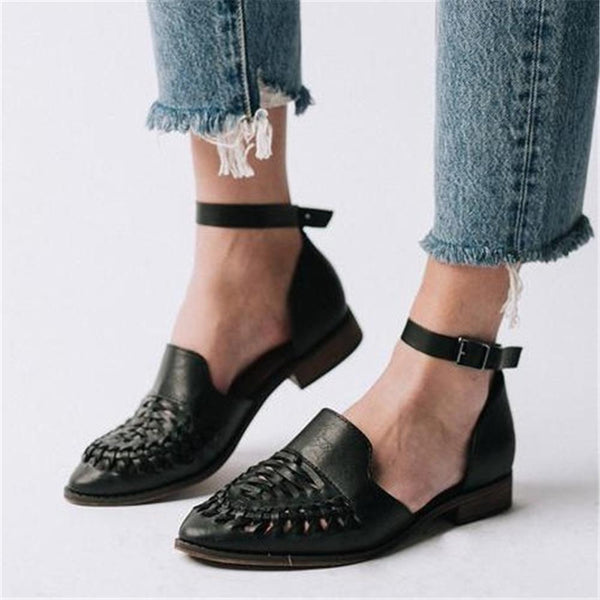 Women's Woven Hollow Pointed   Flat Shoes