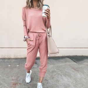 STYLISHPOP Fashion Casual Round Neck Sports Jumpsuit Suit