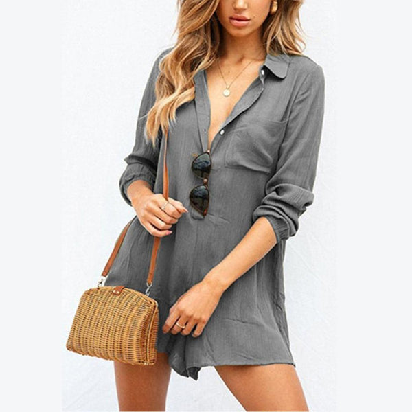 Button Down Collar  Plain  Long Sleeve  Romper
