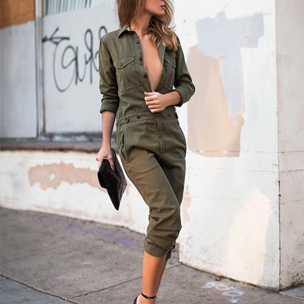 STYLISHPOP Army Green Fashion Lapel Jumpsuit