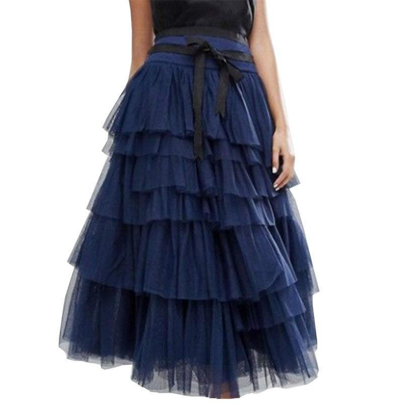 Fashion Casual Pure Color Grenadine  Cake Skirt