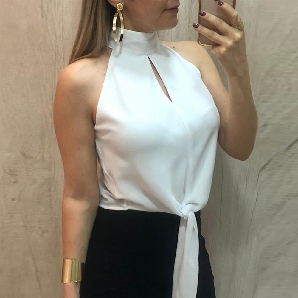 Sexy Hollow Out Belted Sleeveless Pure Colour Shirt