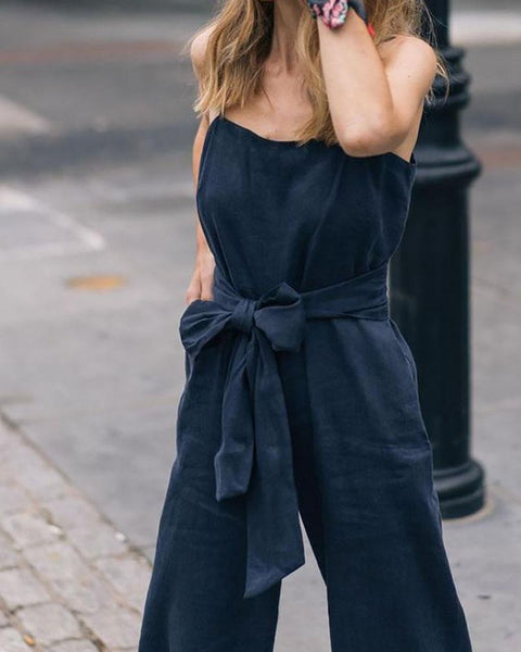 Sling Strapless Back Belt Linen Jumpsuit