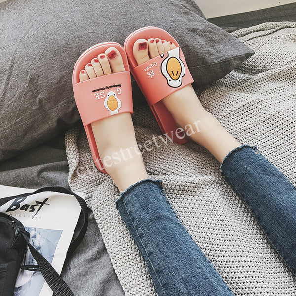 Women Cartoon Indoor Slippers Summer Cute Goose Print Women Slippers