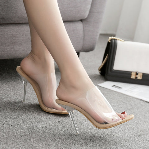 Transparent super-high heeled sexy big open-toed women with cool slippers