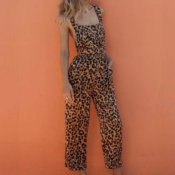 Fashion Leopard Print Sleeveless Rompers Jumpsuits