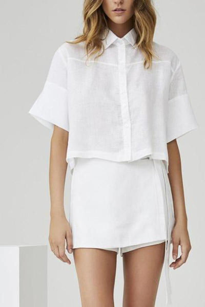 Casual Linen Short-Sleeved Shorts Suit