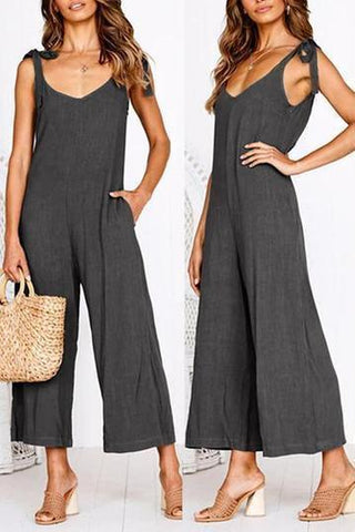 Open Back Sleeveless Sling   V-Neck Straps Jumpsuit