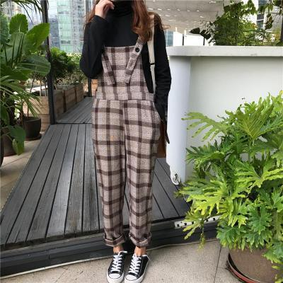 Vintage  High Waist Checked Printed Loose Wide Leg Jumpsuit
