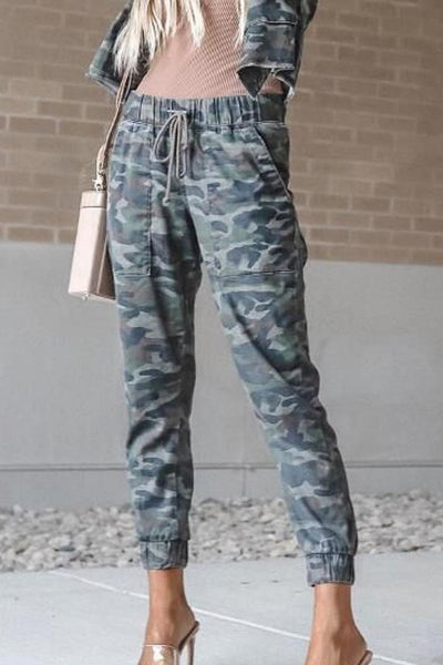 Drawstring  Camouflage  Basic  Pants
