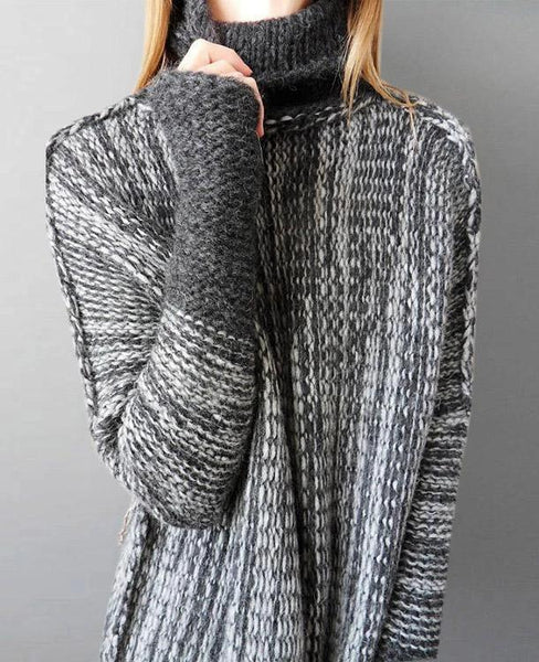 Fashion Loose Hip-below Length Motley Turtle Neck Sweater