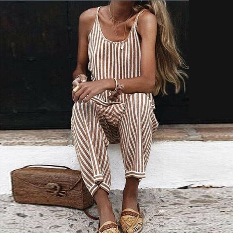 Striped Printed Loose Sling Jumpsuit