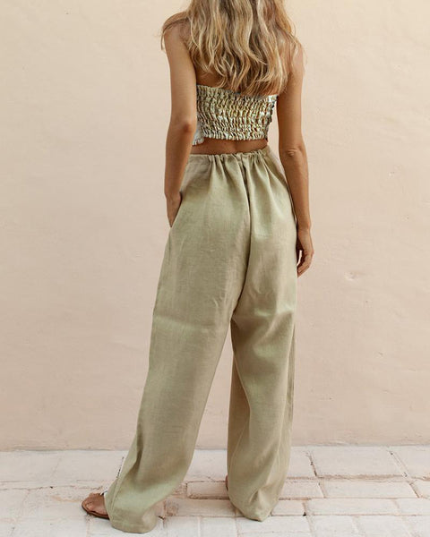 Bow Wrapped Chest Pants Suit