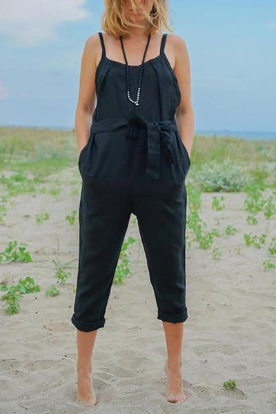 Strap Pleated Belt Linen Jumpsuit