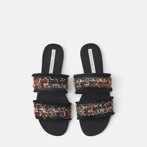 Summer Mixed Color Fashion Design Hemp Slides Women Streetwear Women Slippers