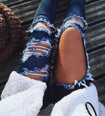Boyfriend hole ripped jeans women pants Cool denim vintage straight jeans for girl Mid waist casual pants