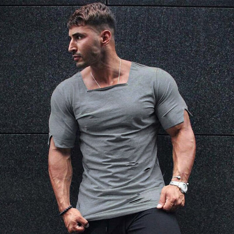 Brand Clothing 2019 Summer T Shirt Men Fashion Ripped Hole Fitness T-shirt