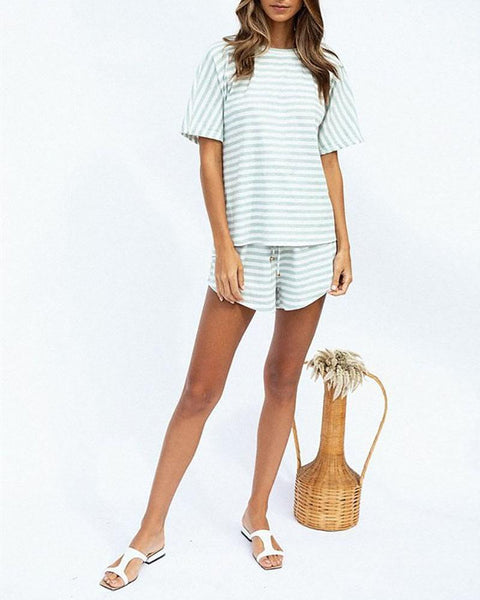 Round Neck Stripe Short Sleeve & Shorts Set