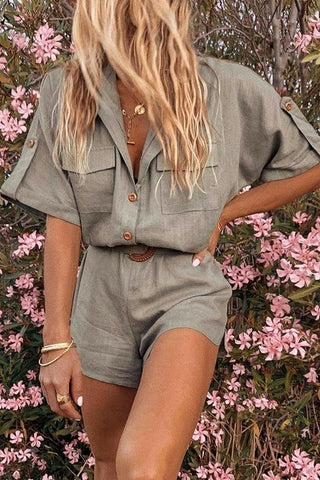 Casual short sleeve button jumpsuit