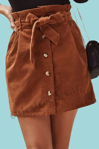 Corduroy Mini Skirts Womens Spring Summer Streetwear Female Burgundy Straight Retro Skirts
