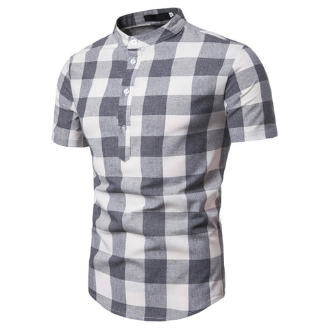 New Summer Polo Shirt Men Top Quality Cotton Linen Polos Slim Fit Plaid Short Sleeve Stand Collar Polo Men