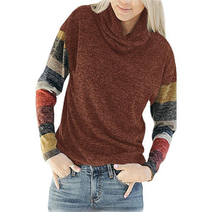 Fashion Contrast Color Heap Collar Long Sleeve T-Shirt