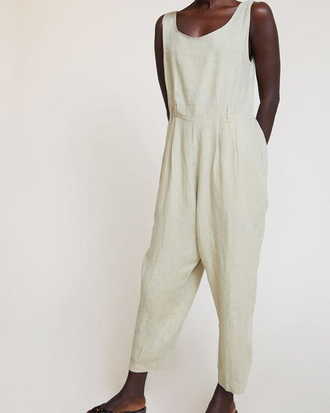 U-Neck Waist Pleated Jumpsuit