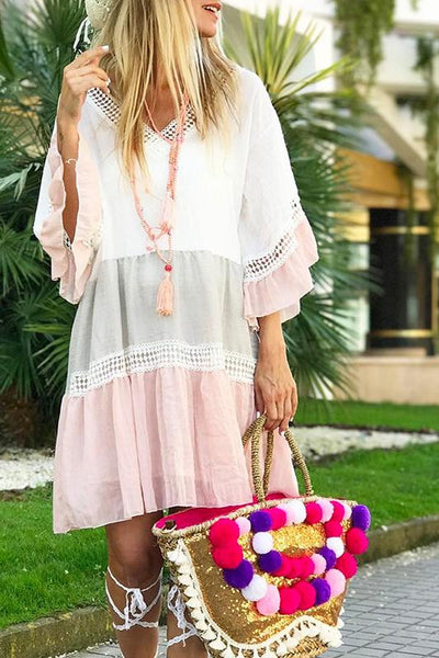 Bohemian V-Neck Ruffled Cropped Sleeves Loose Dress
