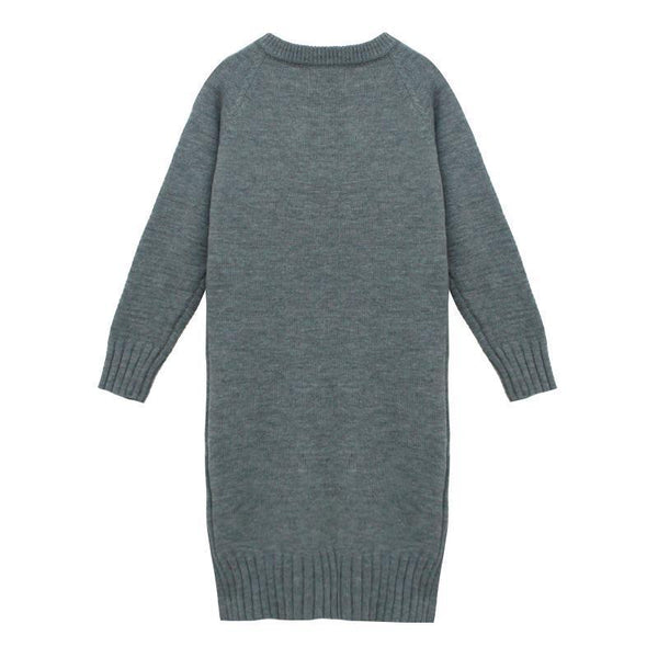 Fashion Long Sleeve Loose Flattering Knitted Casual Dresses