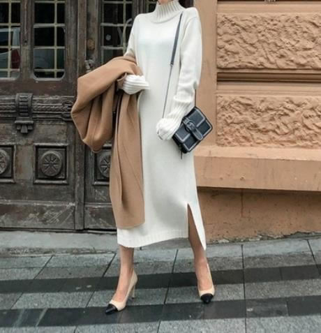Casual Simple Loose   Shown Thin Knitted Sweater Casual Dress