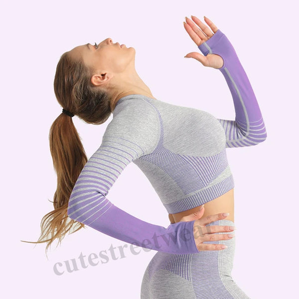 Gradient Exercise Tightening Drying Training Running Yoga belly button Seamless Top