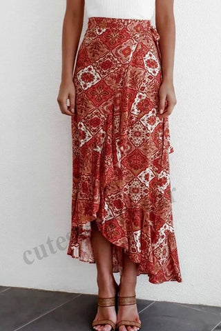 Gypsy High Waist Long Skirt Ladies Summer Beach Holiday Casual Ruffle Wrap Sundress