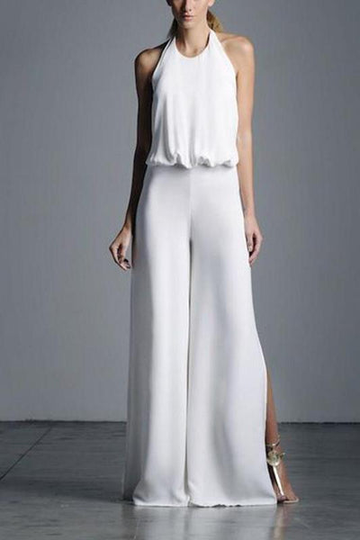 Classy Sleeveless Pure Colour High-Waist Jumpsuits