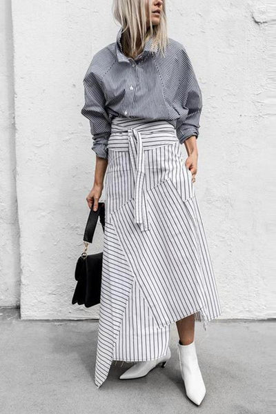 Casual Pure Color Belted Striped Dress