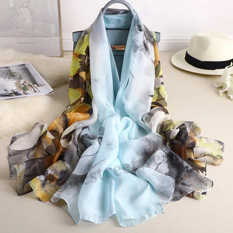 Korean version of silk scarves women holiday sunscreen  shawl