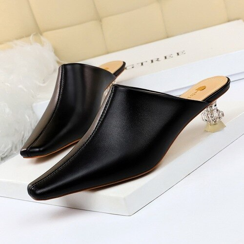 Krystal Heel Slippers Women Outside Fashion Low Heel Sandals