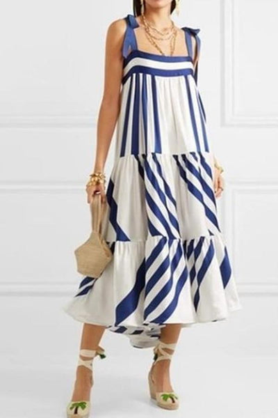Asymmetric Neck  Striped  Sleeveless Maxi Dresses